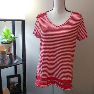 Talbots Red x White Striped Short Sleeve Shirt